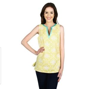 Sail To Sable Yellow Sun Print Tunic Top EUC